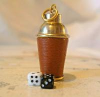Vintage Pocket Watch Chain Fob 1960s Brass & Leather Gambling Fob With Dice (2 of 10)