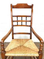 19th Century Rush Seat Rocking Armchair (7 of 9)