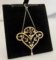 9ct, Seed Pearl & Ruby Pendant c.1910