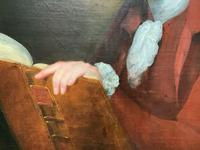 Magnificent Large Mid 18th Century Oil Portrait Painting of a Scholar Gent Reading (9 of 12)