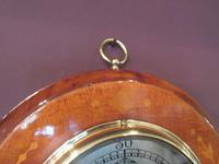 Edwardian Antique Fruitwood Inlaid Barometer (6 of 7)