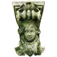 Architectural Feature Medieval Style Stone Cherub Acanthus Scroll Crown Corner Garden Corbel
