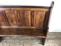 Antique Victorian Pitch Pine Curved Back Pew or Settle (12 of 16)