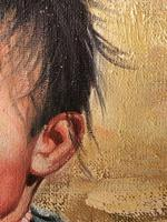 """Chinese Portrait Oil Canvas Painting """"Tribal Young Boy In Gobi Desert"""" Signed Exhibited Yi Ren Gallery (12 of 12)"""