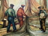 Cornish School - Large early 1900s Oil Painting of Fishermen Pulling in the Nets (9 of 14)