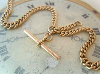 Antique Pocket Watch Chain 1890s Victorian Large 10ct Rose Rolled Gold Albert With T Bar (6 of 12)