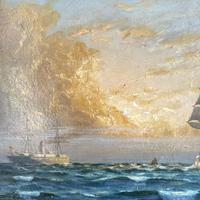 Antique Marine Oil Seascape Painting of Tall Sailing Ship at Sunset by Harry Noyes Lewis (5 of 10)