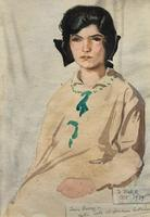 Original Antique Watercolour Portrait Painting of a Girl Guide c.1919 (2 of 9)