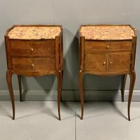 Pair of French Marble Top Bedside Cabinets (4 of 6)