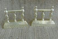 Pair of Victorian Brass Fire-Dogs Fire Irons Rest Andirons for Fireplace c.1890 (7 of 7)
