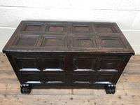 Antique Rare 17th Century Oak Coffer with Block Paw Feet (M-716) (15 of 16)