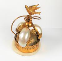 Rare 19th Century Palais Royal Gilt Dove Bird & Mother of Pearl Bell (3 of 12)
