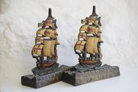 Pair of Painted Bronze Sailing Ship Doorstops or Bookends (9 of 10)
