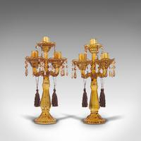 Pair of Antique Candelabra, English, Glass, Candle Stand, Victorian c.1890 (11 of 12)