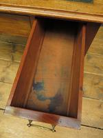 Antique Writing Table with Drawers and Aged Leather Top (7 of 19)