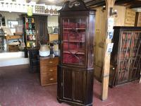 Antique Mahogany Corner Cabinet with Glazed Display Top
