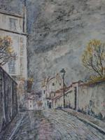 Fernand Laval Rue de Mont Cenis Montmartre Paris 1912 Watercolor Charcoal (6 of 6)