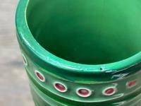 Original Art Nouveau Eichwald Pottery Green Glazed Rocket Flower Vase (13 of 23)