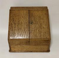 Antique Oak Desktop Stationery Cabinet with Calendar (5 of 12)