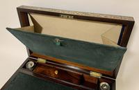 Superb Antique Rosewood Brass Inlaid Writing Slope Box with Double Hinge (3 of 12)