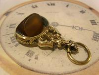 Antique Pocket Watch Chain Fob 1870s Victorian Huge Brass & Amber Stone Swivel Fob (3 of 10)