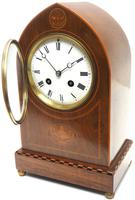 Incredible French Inlaid Lancet Mantel Clock Multi Wood Inlay 8 Day Striking Mantle Clock (7 of 10)