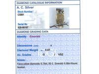 Emerald, Diamond, 18ct Yellow & White Gold Owl Brooch - Vintage c.1980 (8 of 9)