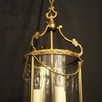 French Small Convex Gilded Triple Light Antique Lantern (3 of 10)