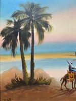 Arabic School - Wonderful Early 20th Century Arabian Camels in Landscape Oil Painting (5 of 12)