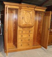 1900's Large Quality Oak Mirrored Compactum Wardrobe (5 of 6)