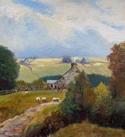 'Sheep In The Yorkshire Dales' - Original 1943 Vintage Landscape Oil Painting (6 of 12)