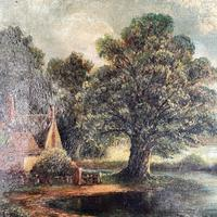 Antique English River Landscape Oil Painting After Constable Signed R Watts 1843 (5 of 10)