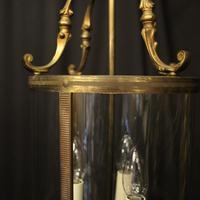 French Gilded Brass Triple Light Antique Lantern (4 of 10)