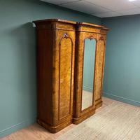 Spectacular Quality Figured Burr Walnut Antique Triple Wardrobe (3 of 10)