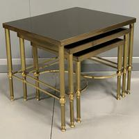 Nest of 3 Brass & Dark Glass Tables (3 of 6)