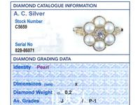 Natural Pearl & 0.20ct Diamond, 18ct Yellow Gold Cluster Ring - Antique c.1880 (6 of 9)