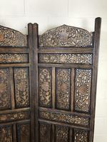 Vintage Indian Hardwood Three Panel Screen Room Divider (m-1806) (3 of 10)