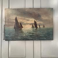 Antique marine seascape oil painting Fishing Boats with a good catch signed W Graves 1918 (2 of 11)