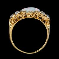 Antique Victorian Opal Diamond Ring 18ct Gold 2ct Opal c.1880 (2 of 6)