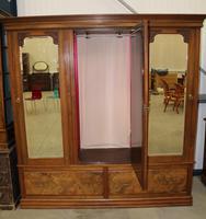 1920's Large Walnut Mirrored Compactum Wardrobe (4 of 5)