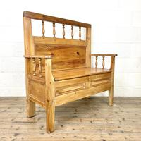 Vintage Pine Settle Bench with Storagev (2 of 10)