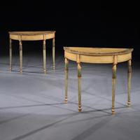 Fine Pair of Georgian Painted Demi-Lune Pier Tables (2 of 10)