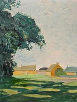 Exquisite Original Early 20th Century Impressionist Farmland Landscape Oil Painting (6 of 12)
