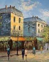 Fine Large Original Vintage Parisian Street Cityscape Impressionist Oil Painting (7 of 11)