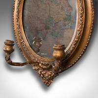 Pair of Antique Girandole Mirrors, English, Giltwood, Ovall, Wall, Regency, 1820 (6 of 10)