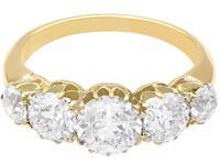 3.29ct Diamond & 18ct Yellow Gold Five Stone Ring c.1925 (4 of 9)