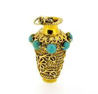 1960s 14K Turquoise Set Vase Novelty Charm