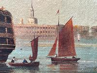 Seascape Oil Painting First Rate Man O War Ships Portsmouth Harbour Signed Brian Coole (12 of 39)
