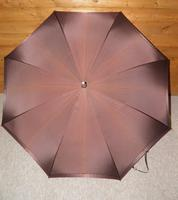 Antique English Made Brown Silk Canopy Umbrella & Hand Carved Horse Head Handle (2 of 14)