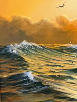 """Seascape Oil Painting """"St Ives Fishing Boat"""" Off Cornwall Coast by Keith English (12 of 36)"""